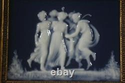 Tharaud Limoges Porcelain signed Plaque. Group of Nymphs in wooden frame