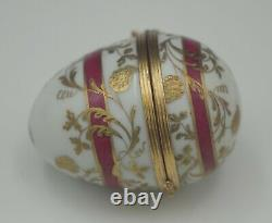 Tiffany & Co Limoges France Egg Pill Box Trinket Box Gold Gilt Burgundy