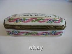 Tiffany & Co Trinket Box Private Stock Limoges Handpainted Floral ribbon Verse