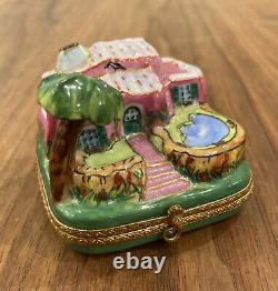 Tropical House With Pool And Palm Vintage Limoges Box