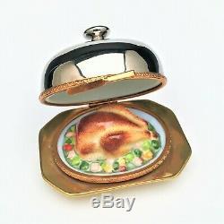 Turkey & Sides on Domed Platter Limoges Trinket Box Rare & Retired