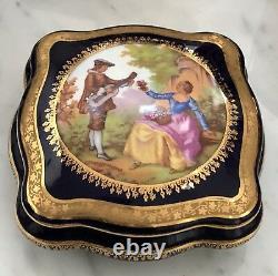 VINTAGE GOUDEVILLE Limoges Hand Painted France Signed Cobalt Blue & 22K Gold