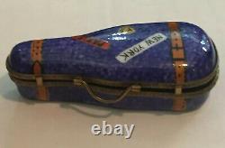 VINTAGE LIMOGES FRANCE Handpainted Trinket Box, Violin Case Violin & Painted Bow