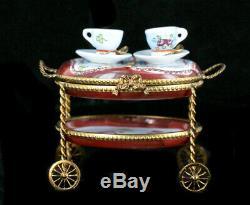 VTG Rochard Peint Main Limoges Porcelain Tea Service Cart Trinket Box Retired