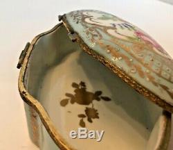 Vincennes-Sevres Hand Painted Porcelain French Antique Trinket Box 5 ½ wide