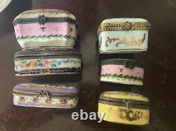 Vintage-Antique Peint Main Limoge Porcelain Hinged Trinket Boxes-Lot of 6