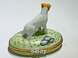 Vintage Artoria Limited Limoges France Jack Russell Terrier on Oval Trinket Box