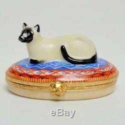 Vintage Artoria Limoges France Lim. Ed #167 Siamese Cat On Pillow Signed
