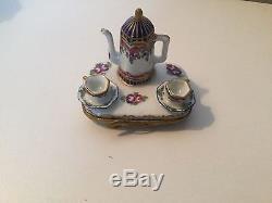 Vintage, Authentic Limoges Porcelain Tea Set Box-mint-france-was $300+now-$130