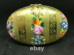 Vintage Cartier Le Tallec Limoges Porcelain Gold Trinket Box-Gold Stencil/Floral