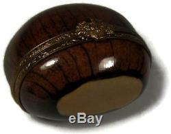 Vintage French Limoges Peint Main Trinket Box Christmas Roasted Chestnut