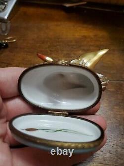 Vintage Gold Gilt Handpainted Swan Limoges Trinket Box Limited Edition 10/500