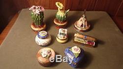 Vintage Hand-painted Blooming Pink Cactus Flower Rochard Limoges Trinket Box