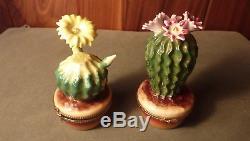 Vintage Hand-painted Blooming Yellow Cactus Flower Rochard Limoges Trinket Box