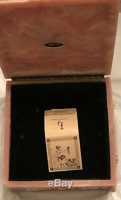 Vintage Large Sizes Genuine Incolay Stone Trinket Jewelry White & Peach Box 9