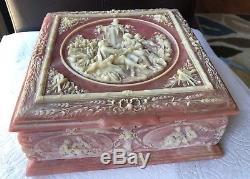 Vintage Large Sizes Genuine Incolay Stone Trinket Jewelry White & Pink Box