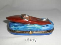 Vintage Limoges Box Speed Boat Eximious Hand Painted Boating Gifts