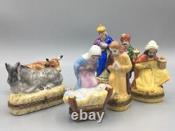 Vintage Limoges Boxes Nativity Set Peint Main 8 Pieces Rare Virgin Mary Jesus