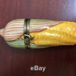 Vintage Limoges Chamart Peint Main France Ear of Corn Porcelain Trinket Box