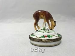 Vintage Limoges-Charmart-Peint Main-Porcelain Christmas Deer/Fawn Trinket Box