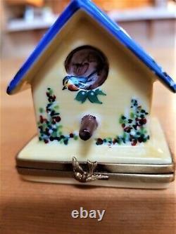 Vintage Limoges France Blue Bird House Trinket Boxrochard Peint Main