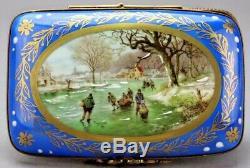 Vintage Limoges France Blue Painted Porcelain Enamel Box Antique