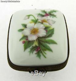 Vintage Limoges France Flower Design December Porcelain Box