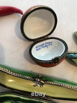 Vintage Limoges France Hand Painted Porcelain 8 Vegetable Shaped Trinket Box