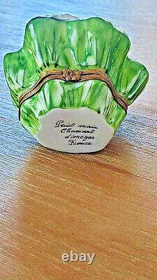 Vintage Limoges France -Peint Main- Hinged Porcelain Trinket Box Cauliflower