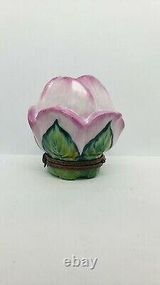 Vintage Limoges France Peint Main Large Pink Rose Trinket box
