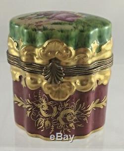 Vintage Limoges France Peint Main Red Two Perfume Bottle Porcelain Trinket Box
