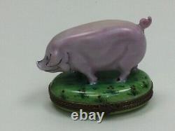 Vintage Limoges France Peint Main Rochard Pink Pig Piggy Trinket Box