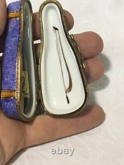Vintage Limoges France Peint Main Rochard Violin Trinket Box