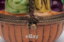 Vintage Limoges, France Porcelain Trinket Box, Basket with Produce Fruits & Veg