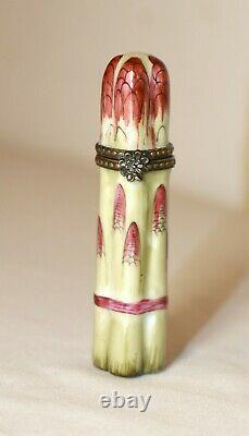 Vintage Limoges France porcelain Peint Mein figural asparagus pill trinket box