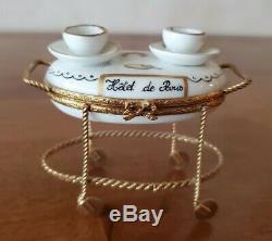 Vintage Limoges Hotel dParis Breakfast Cart Trinket Box Hinged Porcelain