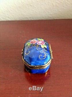 Vintage Limoges La Gloriette Peint Main Flowers Small Trinket Box Made In France