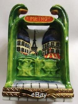 Vintage Limoges Paris Metro Peint Main France Porcelain Trinket Box Signed Pv