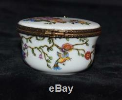 Vintage Limoges Peint Main Oval Trinket Box-Birds on Vine -2.5L -Excellent