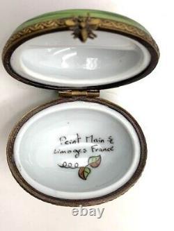 Vintage Limoges Peint Main Small Watermelon Fruit Porcelain Trinket Box France
