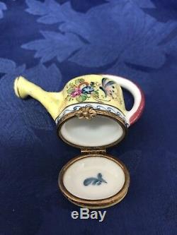 Vintage Limoges Trinket Box ROCHARD Watering Can Flower Clasp Peint Main