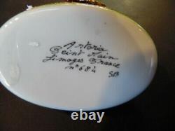 Vintage Peint Main Artoria Jack Russell Limoge Trinket Box