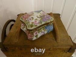 Vintage Peint Main French Limoges Large Signed Box hand painted, floral design