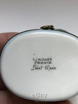 Vintage Peint Main LIMOGES France 2 FROGS ON A LILY PAD Hinged Trinket Box