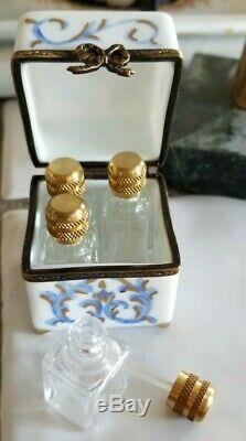 Vintage Peint Main LIMOGES Perfume Casket with Four Bottles Trinket Box
