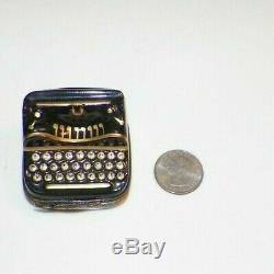 Vintage Peint Main Limoges France Black & Gold Typewriter Trinket Box