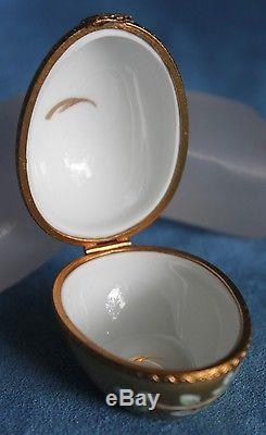 Vintage Peint Main Limoges France Lucky Peach GOLD Easter Egg Trinket Box