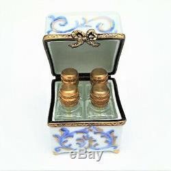 Vintage Perfume Casket/Holder with Four Bottles Limoges Trinket Box