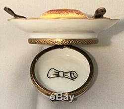 Vintage Porcelain Limoges Box Croque Madame Knife & Fork with Painted Napkin