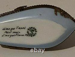 Vintage Rare Limoges France Hand-Painted Porcelain Sailboat Trinket Box